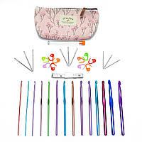 Набор для рукоделия 35 предметов + тканевый чехол розовый (крючки, иглы, маркеры, см-лента)