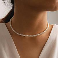 Жемчужное женское колье ожерелье на шею с натурального жемчуга