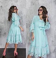 Модное летнее женское платье из прошвы.Размеры:42/48+Цвета