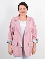 Красивый женский пиджак Бель для пышных форм, пудра