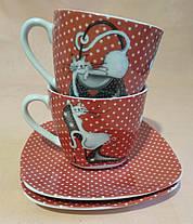 """Набор чайный """"Кошки""""   в подарочной коробке (2 чашки и 2 блюдца), фото 2"""