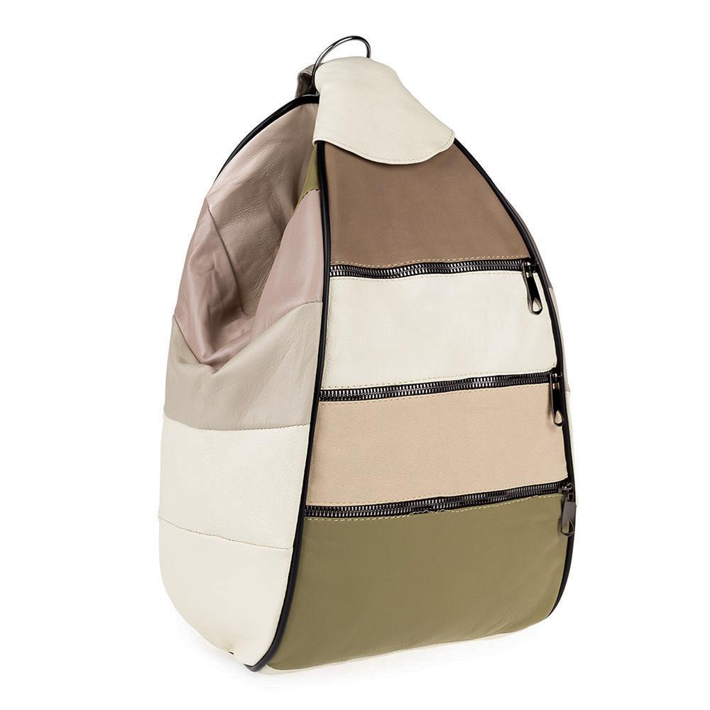 Женский городской рюкзак-сумка из натуральной кожи LT 5617 летний микс