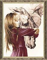 Набор для вышивки крестом Золотое Руно СВ-016 Девочка с Лошадью
