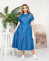 Платье-рубашка Asphodel с коротким рукавом  джинс А425