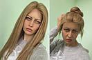 Система волос на сетке с имитацией кожи головы, длинный русый волос, фото 2