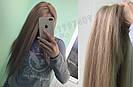 Система волос на сетке с имитацией кожи головы, длинный русый волос, фото 9