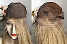 💥 Русявий перуку на сітці з натуральних волосся, подовжене каре 💥, фото 5