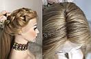 Система волос на сетке с имитацией кожи головы, длинный русый волос, фото 8