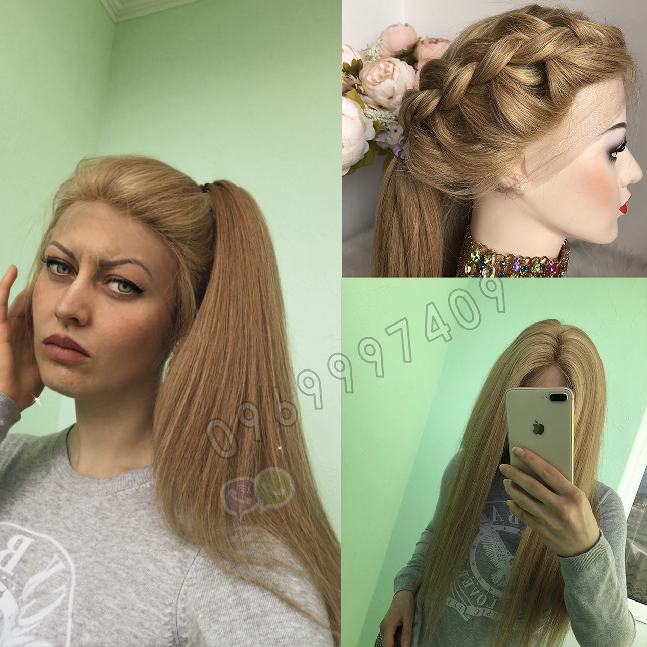 💥 Русявий перуку на сітці з натуральних волосся, подовжене каре 💥