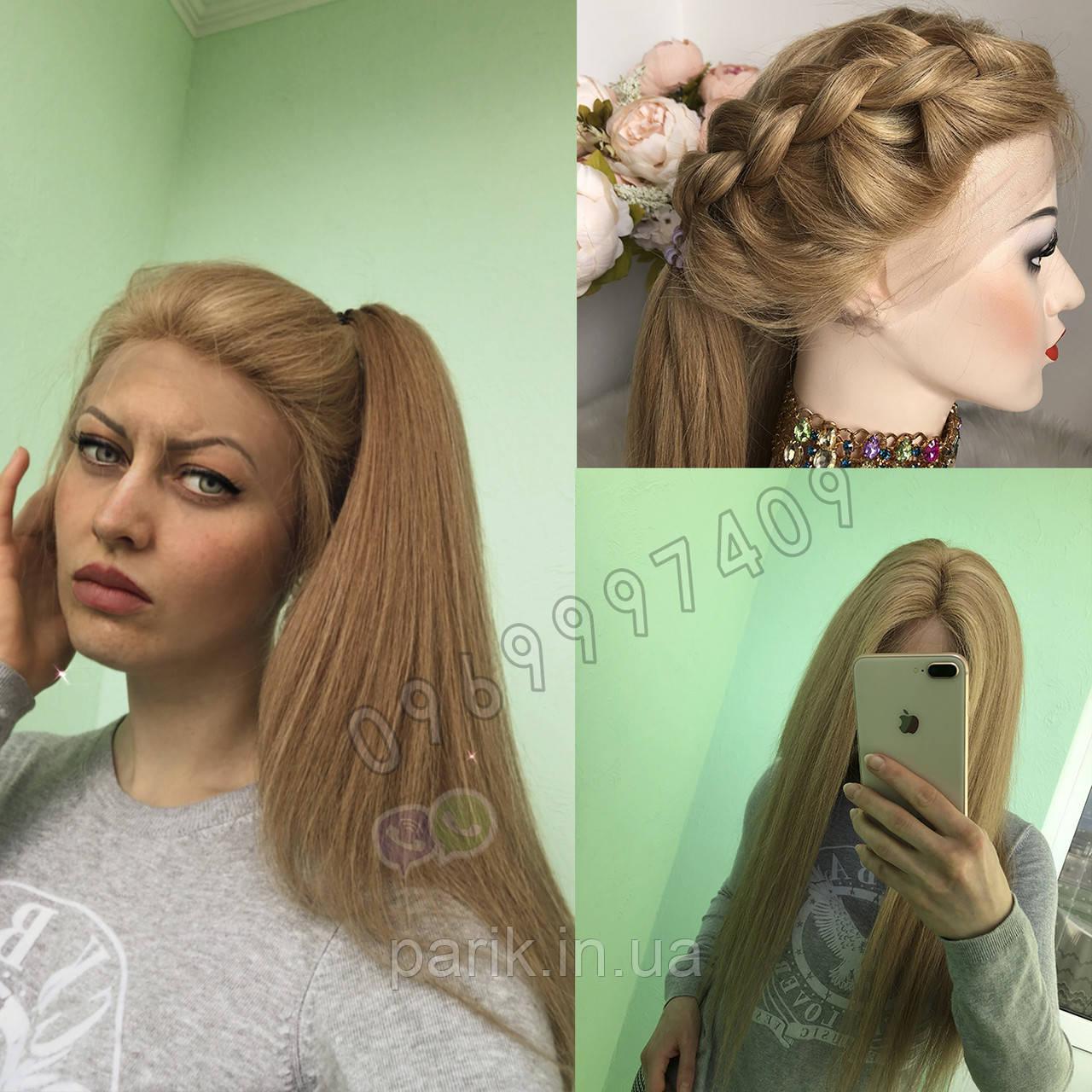 Система волос на сетке с имитацией кожи головы, длинный русый волос