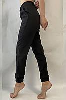 Брюки женские летние на манжете, молодежные летние штаны джоггеры на резинке 0103 черные, фото 1