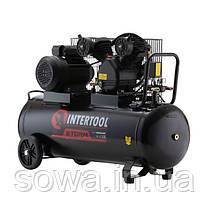 Компрессор 100 л, 3 кВт, 220 В, 8 атм, 500 л/мин, 2 цилиндра INTERTOOL PT-0014, фото 2