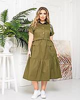 Платье-рубашка Asphodel с коротким рукавом  хаки А425