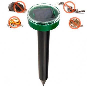 Отпугиватель грызунов кротов и насекомых аккумуляторный на солнечной батареи ультразвуковой Garden Pro
