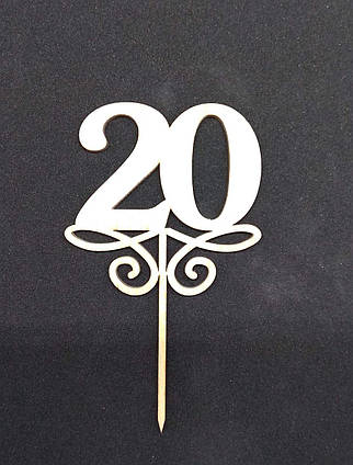 Топпер цифра 20 для тортов и десертов