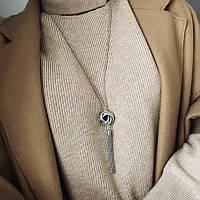 Модная цепочка подвеска на шею с кисточкой - серебро