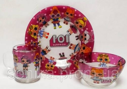 """Набір дитячого посуду скляний """"LOL"""" 3 предмети 515-16"""