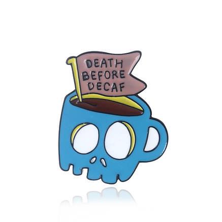 Значок металлический Пин Pin City-A Adventure Time Финн и Джейк Кружка Death Before Decaf №1941, фото 2