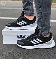 Мужские кроссовки Adidas black / Обувь Адидас черные новинка весенне летние сетка повседневные