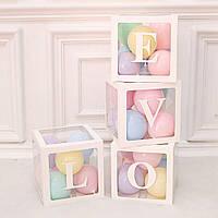 """Набір білих коробок для повітряних кульок """"LOVE"""" 30х30 см."""