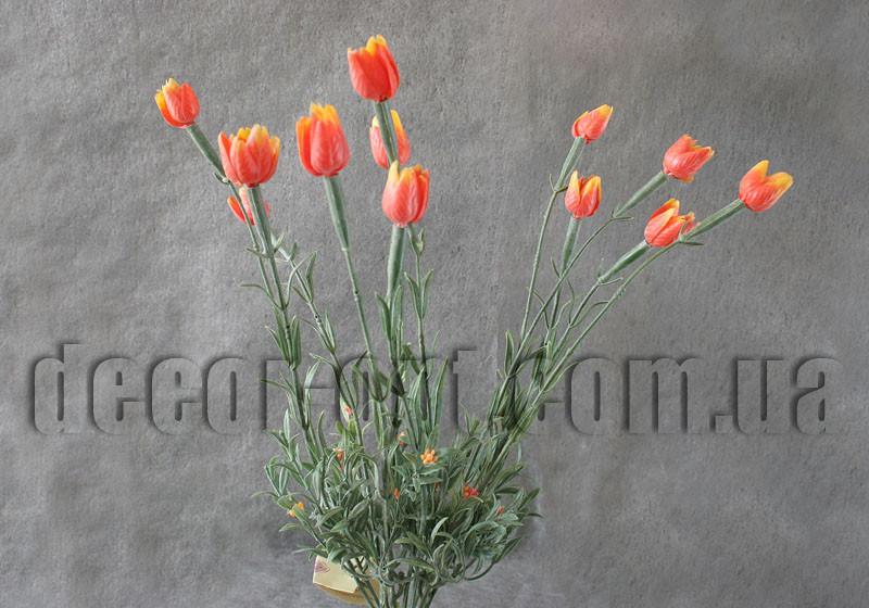 Ветка декоративная 40 см с оранжевыми тюльпанчиками