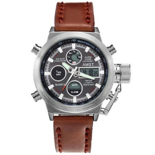 AMST 3003AC Silver-Black Brown Wristband
