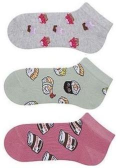 Набір 3 шт. Шкарпетки жіночі укорочені Bross бавовна: тістечко, суші, шоколад