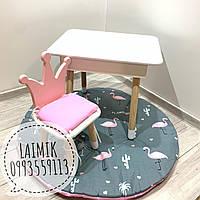 Детский столик с пеналом и стульчик Корона (детский стульчик, детская мебель)