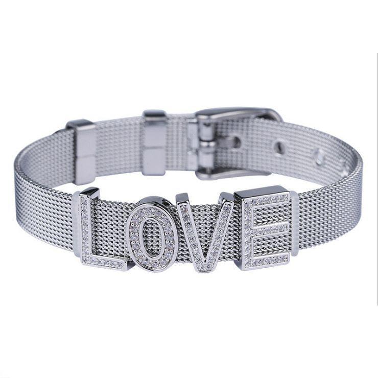 Плоский металевий браслет з написом LOVE