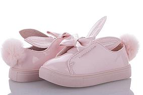 Кеди, сліпони мокасини туфлі для дівчинки лакові рожеві з вушками і бантиком, розміри 26,27,28
