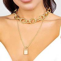 Многослойное массивное ожерелье - цвет золото