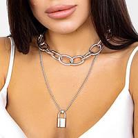 Многослойное массивное ожерелье - цвет серебро