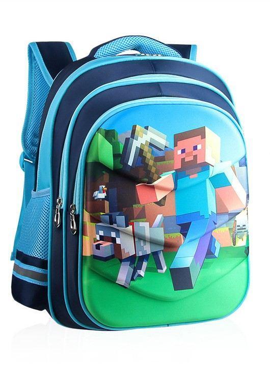 Рюкзак шкільний ортопедичний Minecraft Блакитний 42 см