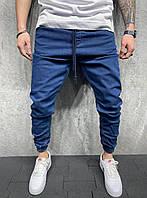 Свободные мужские джинсы джоггеры темно синего цвета, синие джинсовые штаны на резинке Турция