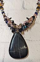 Красивый черный кулон из крупного агата в подарок девушке на выпускной вечер, фото 1