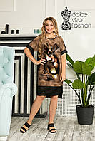 Летнее платье-рубашка размеры 46-56
