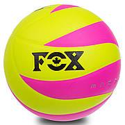 Мяч волейбольный Клееный PU FOX SD-V8007 (Лимонный-малиновый)