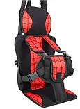 Портативное бескаркасное детское автокресло красное (паутинка человека-паука), фото 2