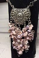 Стильний кулон у подарунок дівчині з натурального каменю - Рожевий кварц з перламутром, фото 1
