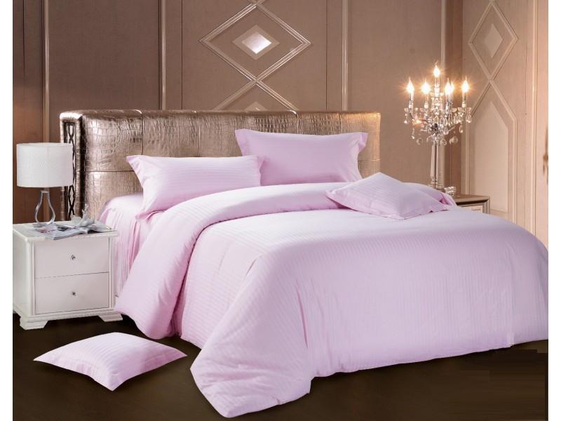 Комплект постельного белья Евро Love You Страйп-сатин 200Х220 розовый