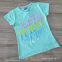 Подростковая трикотажная футболка для девочки Get turn up 9-12 лет, цвет уточняйте при заказе, фото 1