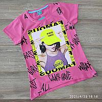 Підліткова трикотажна футболка для дівчинки Mymood Famous 9-12 років, бузкового кольору