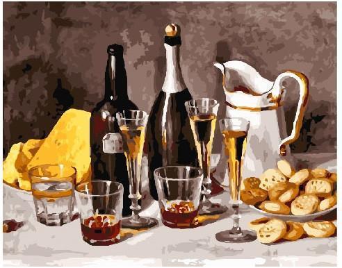 Картина рисование по номерам Вино с фруктами GX25157 40х50см набор для росписи, краски, кисти, холст