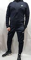 Мужской спортивный костюм Nike с капюшоном темно-синий трикотажный демисезонный весна осень