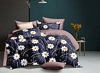 """Все размеры. Комплект постельного белья  синий из полиэстра """"Ромашки на синем"""""""
