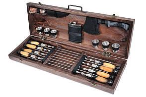 Подарочный набор Охотник шампуры с рюмками и флягой в деревянном чехле