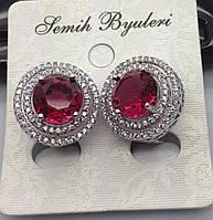 Женские серьги Сваровски с малиновым кристаллом. Качественная ювелирная бижутерия . 474