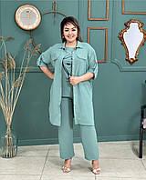 Стильный женский костюм брюки на резинке, рубашка длинная, блуза на пышных дам фисташковый, р.50-60