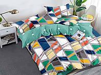 """Все размеры. Комплект постельного белья разноцветный из полиэстера """"Прямоугольники на сером"""""""