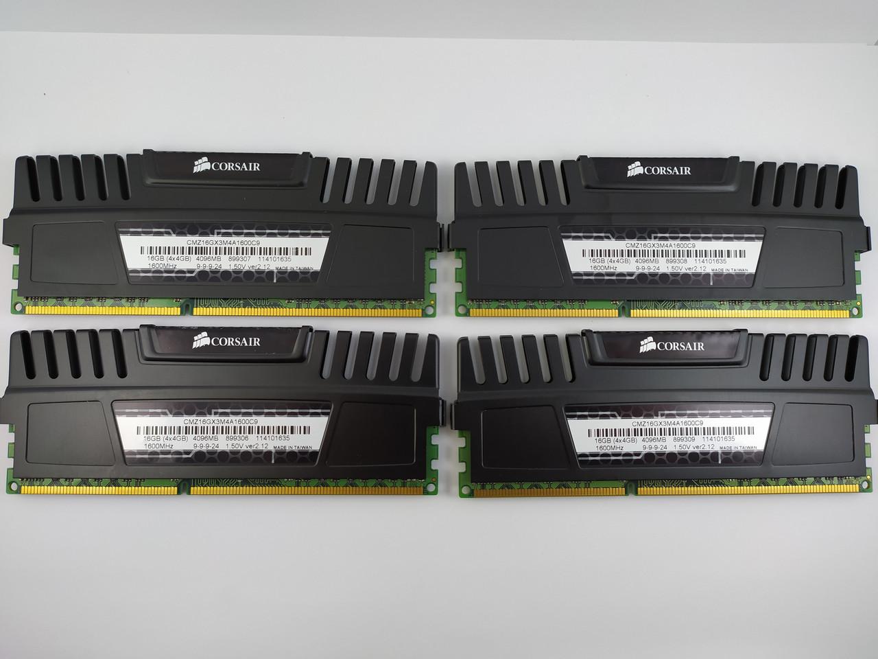 Комплект оперативной памяти Corsair Vengeance DDR3 16Gb (4*4Gb) 1600MHz PC3-12800 (CMZ16GX3M4A1600C9) Б/У